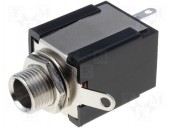 JC-117 CONECTOR JACK 6.3MM, DREPT, STEREO, PANOU, 10MM